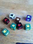 Some of the dice in Quarriors!