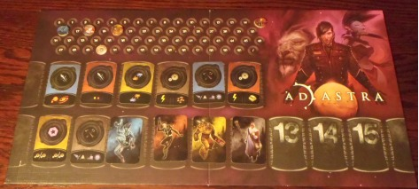 The action board, with the first eight revealed so far.