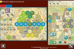 Castles of Burgundy. Most of the board fits on my iPhone screen, and I can navigate quickly.