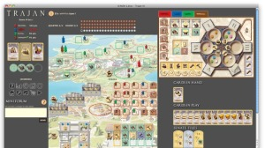 A game of Trajan on Boîte à Jeux. (Or at least what fits in the browser window at once.) Notice that the area on the upper right has tabs to let the user look at one person's play area at a time.